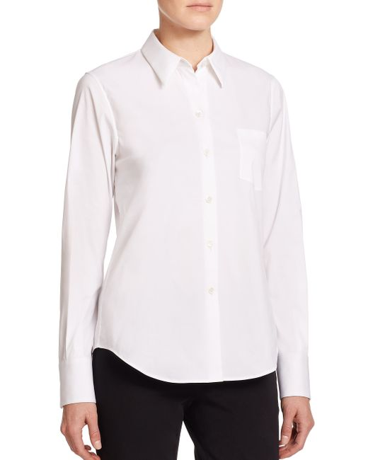 Theory | White Weylend Stretch Cotton Shirt | Lyst