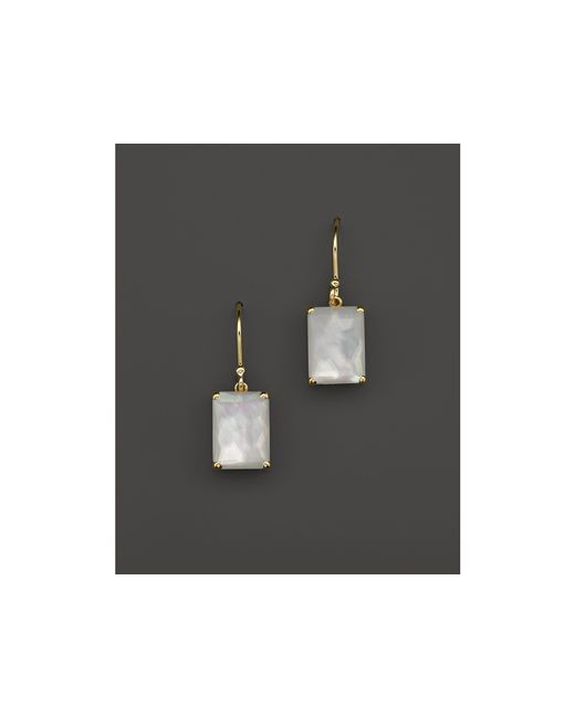 Ippolita | White 18k Gold Rock Candy Gelato Single Rectangle Drop Earrings In Mother-of-pearl | Lyst