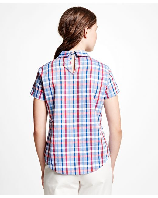 Womens Red And Blue Plaid Shirt