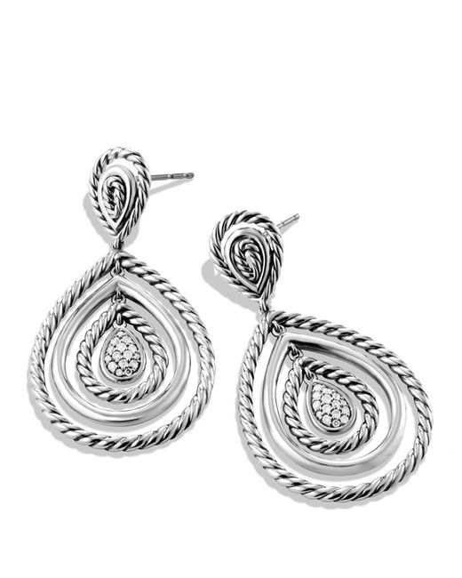 David Yurman | Metallic Cable Classics Teardrop Earrings With Diamonds | Lyst