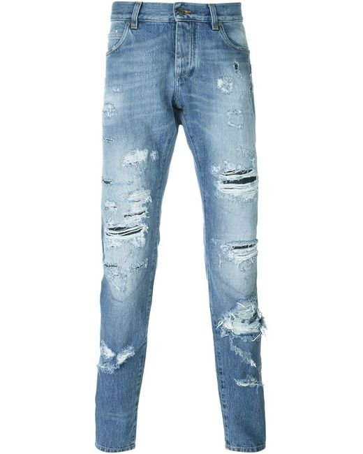 Dolce amp Gabbana Ripped Jeans In Blue For Men Lyst