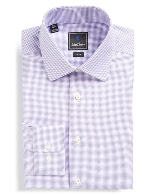 David Donahue Trim Fit Houndstooth Dress Shirt In Purple