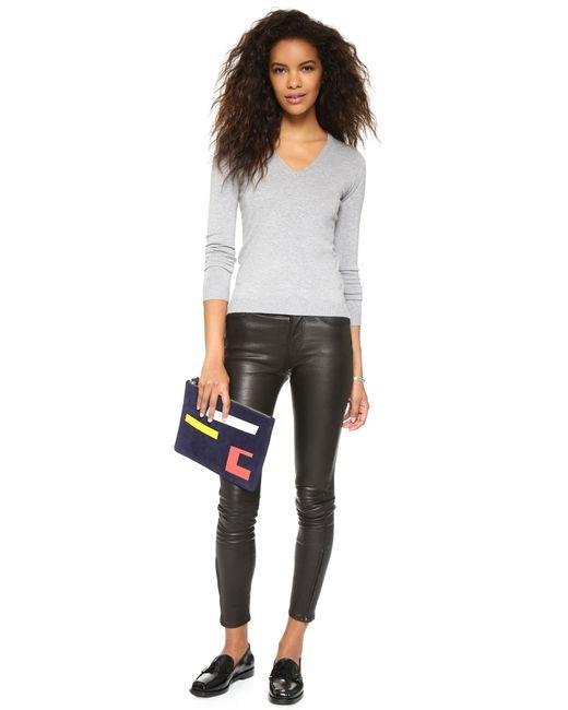 525 America | Gray Low V Neck Sweater | Lyst