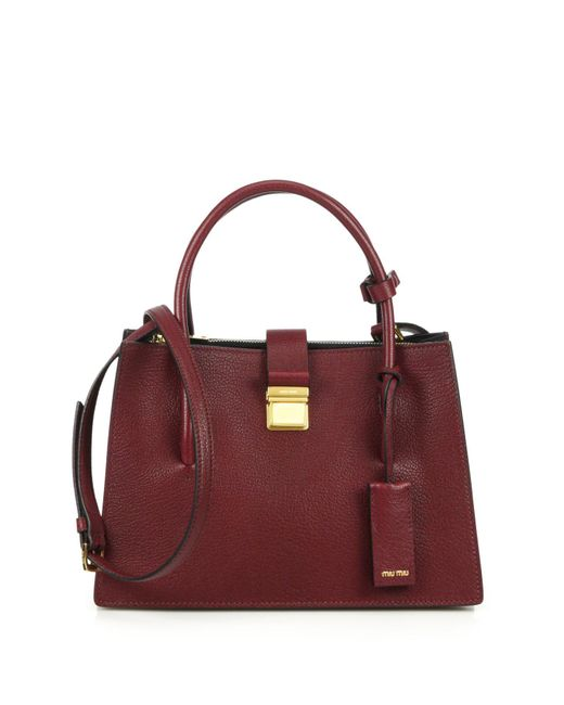 Miu Miu | Red Madras Small Satchel | Lyst