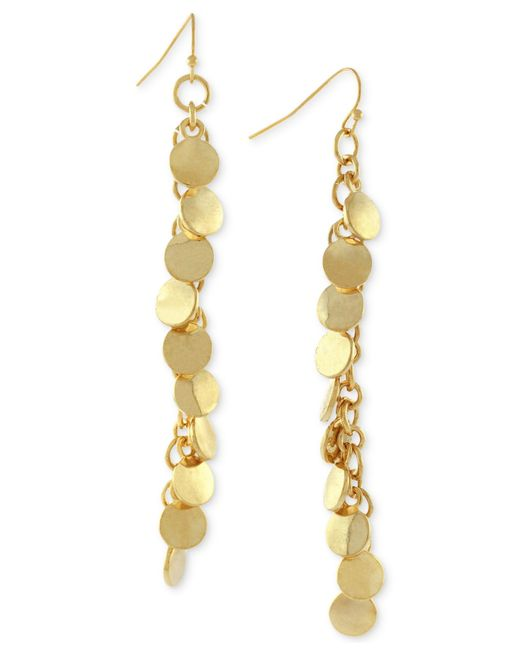 Vince Camuto | Metallic Gold-tone Linear Disc Drop Earrings | Lyst