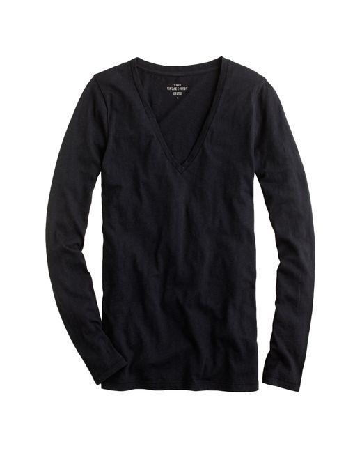J.Crew | Black Vintage Cotton Long-sleeve V-neck T-shirt | Lyst