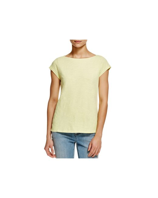 Eileen fisher organic cotton boat neck tee in yellow for Eileen fisher organic cotton t shirt