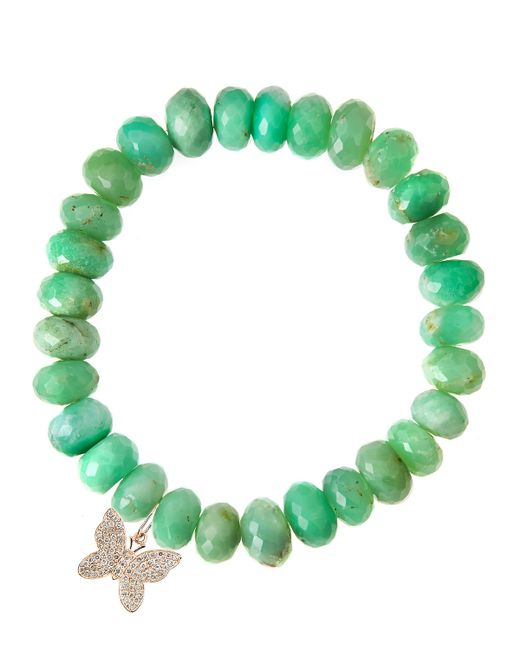 Sydney Evan | Green Chrysoprase Rondelle Beaded Bracelet With Round Evil Eye Charm (Made To Order) | Lyst