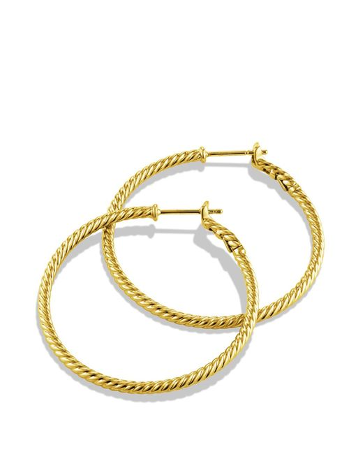David Yurman | Metallic Cable Classics Hoop Earrings In Gold | Lyst