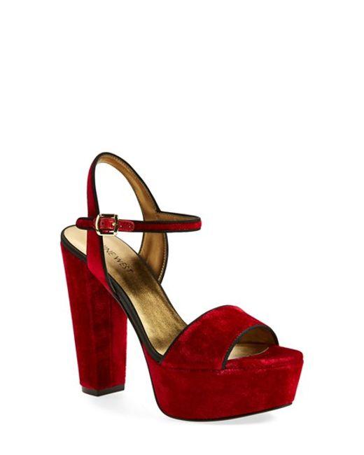 Nine West | Red 'carnation' Platform Sandal | Lyst