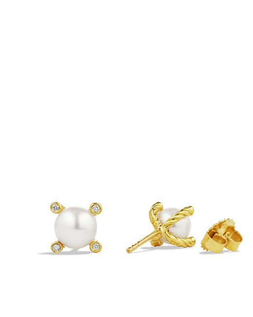 David Yurman | White Pearl Earrings With Diamonds In 18k Gold | Lyst
