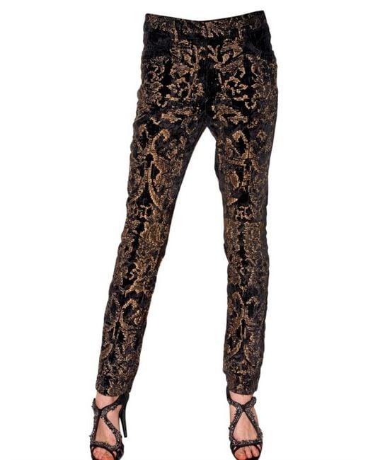 Roberto Cavalli | Black Printed Flared Trousers | Lyst