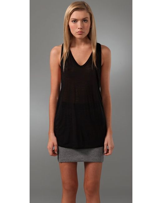 T By Alexander Wang | Black Striped Classic Tank | Lyst