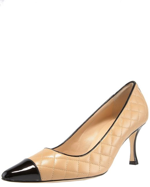 Manolo Blahnik | Natural Patent-toe Quilted Pump | Lyst