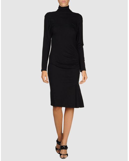 Alberta Ferretti   Black 3/4 Length Dress   Lyst