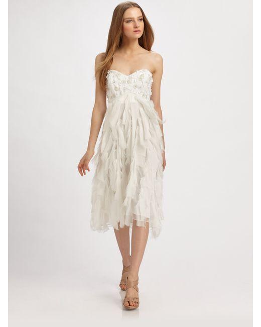 Badgley mischka Strapless Silk Chiffon Dress in White  Lyst