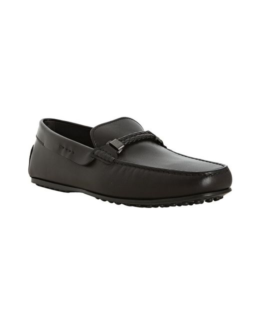Tod's | Black Leather City Gommino Woven Detail Loafers for Men | Lyst