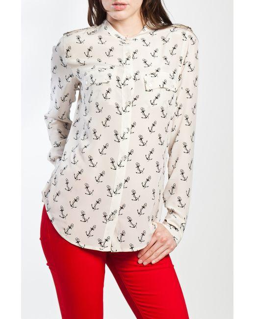 Equipment | White Leaf-print Silk Roll-tab Sleeve Shirt | Lyst