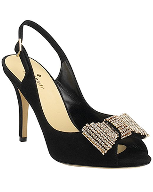 kate spade new york | Crown - Black Suede Slingback Embellished Pump | Lyst