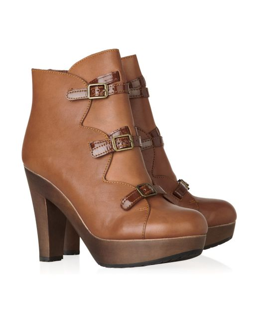See By Chloé | Brown Leather and Wooden Ankle Boots | Lyst