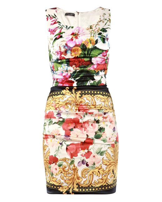 Dolce & Gabbana | Multicolor Taormina Print Embellished Dress | Lyst