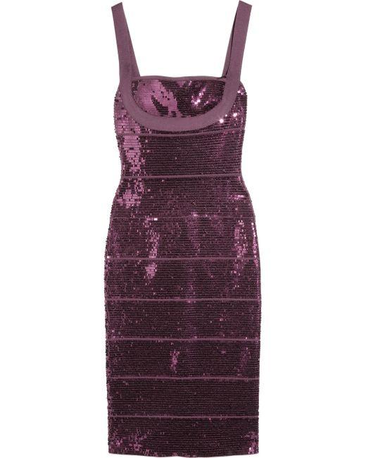 Hervé Léger   Purple Sequined Bandage Dress   Lyst