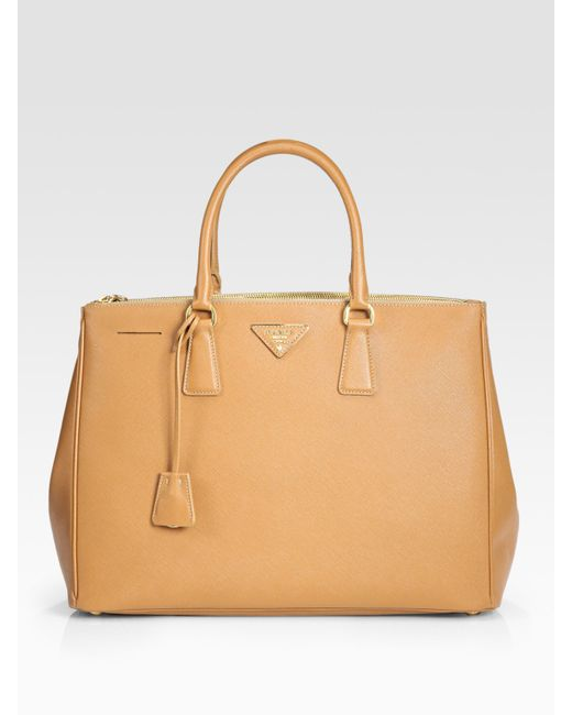 Prada | Brown Saffiano Lux Large Double-zip Tote | Lyst