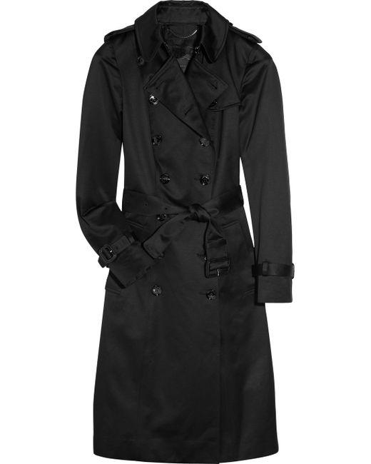 Burberry Prorsum | Black Cotton-sateen Trench Coat | Lyst