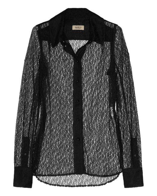 Saint Laurent | Black Polka-dot Flocked Tulle Shirt | Lyst
