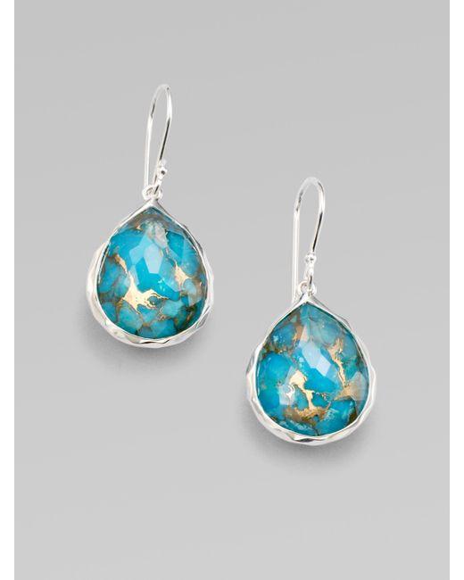 Ippolita | Metallic Wonderland Bronze Turquoise, Clear Quartz & Sterling Silver Mini Doublet Teardrop Earrings | Lyst