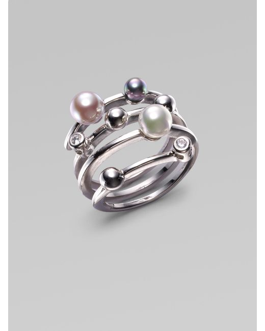 Majorica | 4mm Multicolor Round Pearl & Sterling Silver Endless Wrap Ring | Lyst