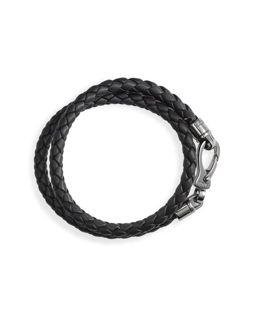 Tod's | Black Braided Leather Double-wrap Bracelet for Men | Lyst