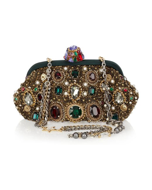 Dolce & Gabbana | White Crystal Embellished Dolce Box Clutch | Lyst