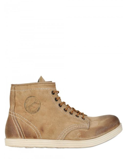 Preventi | Natural Waxed Kudu Crosta Low Boots for Men | Lyst