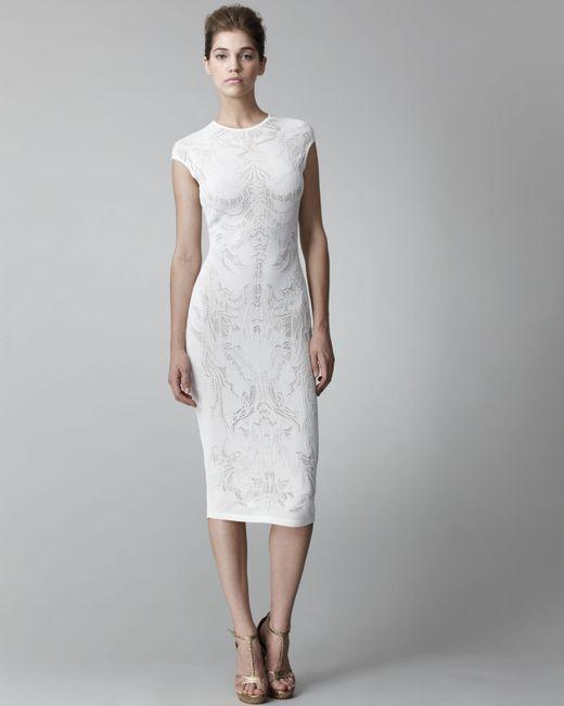 Alexander McQueen | White Lace-pattern Sheath Dress | Lyst