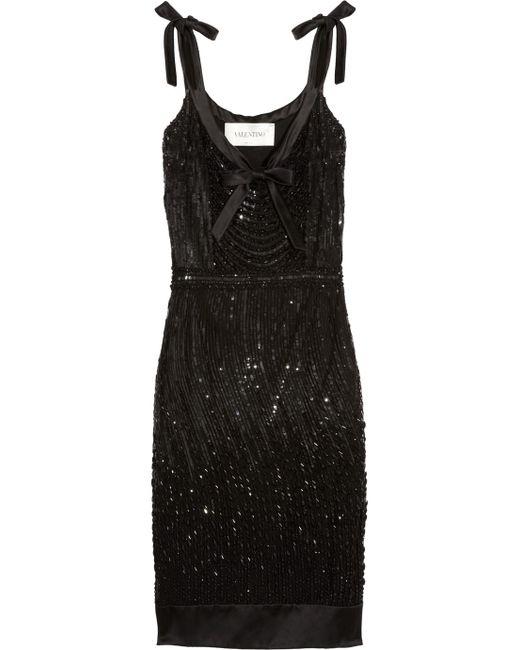Valentino   Black Beaded Silk-satin Dress   Lyst