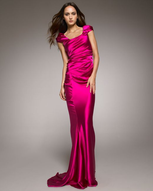 Vera Wang | Pink Cap-sleeve Charmeuse Gown | Lyst