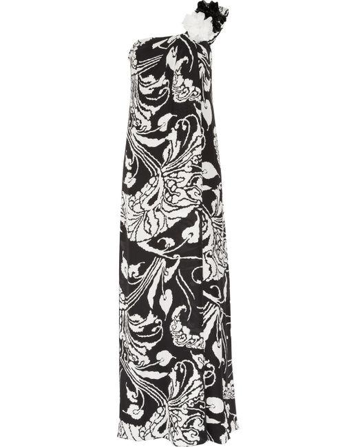 Gucci | Black Printed Silk-georgette One-shoulder Gown | Lyst