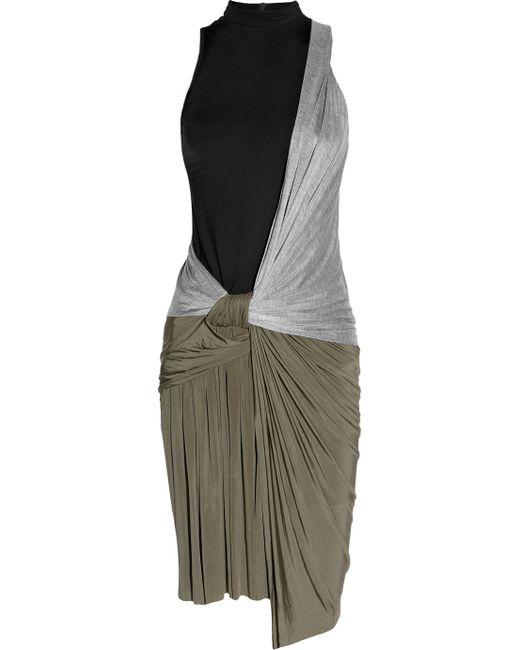 Alexander Wang | Black Knotted Draped-jersey Dress | Lyst
