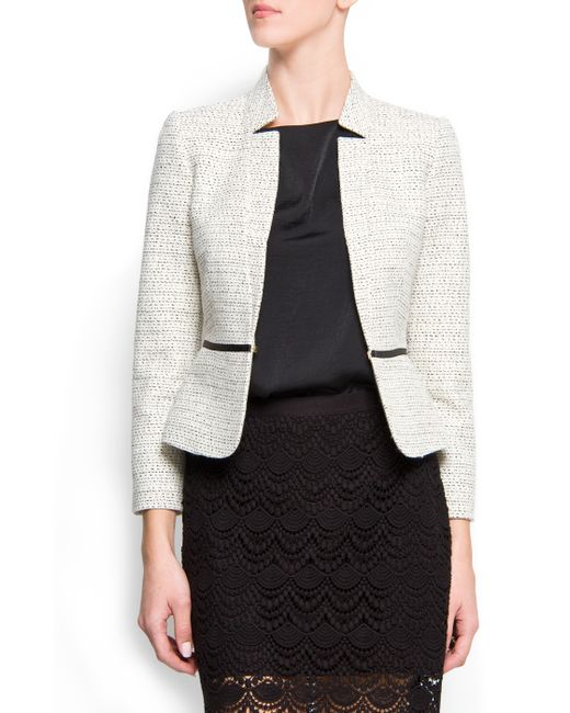 Mango | Natural Shiny Yarn Blazer | Lyst