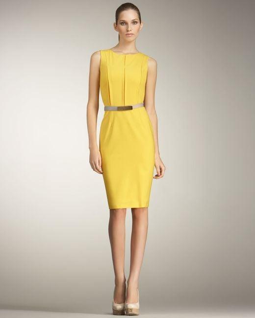 Fendi | Yellow Invert-pleated Sheath Dress | Lyst