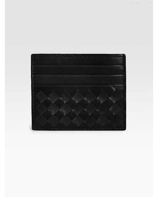 Bottega Veneta   Black Woven Flat Card Case   Lyst