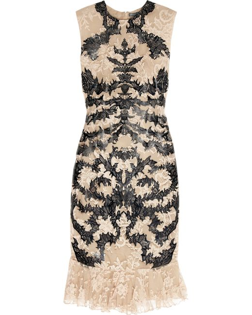 Alexander McQueen | Beige Lasercut Leather and Lace Dress | Lyst