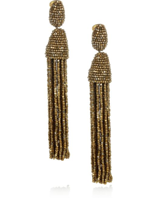 Oscar de la Renta | Metallic Beaded Tassel Clip Earrings | Lyst