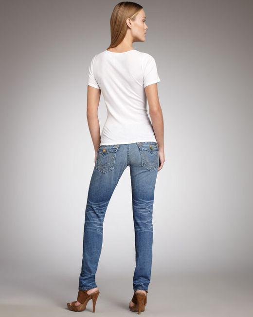 True Religion | Green Distressed Skinny Jeans | Lyst