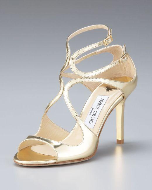 Jimmy Choo   Gold Ivette Mirrored Crisscross Sandal   Lyst