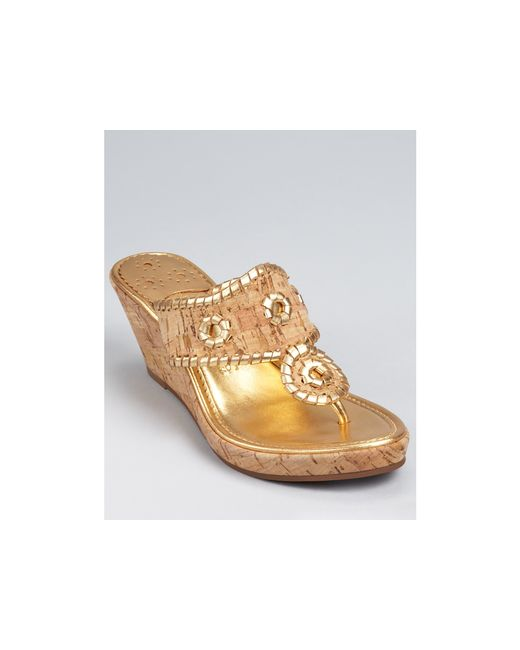 Jack Rogers | Natural Wedges Metallic Marbella Mid | Lyst