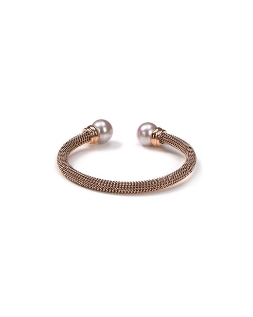 Majorica | Pink Stainless Steel And Nuage Simulated Pearl Cuff | Lyst