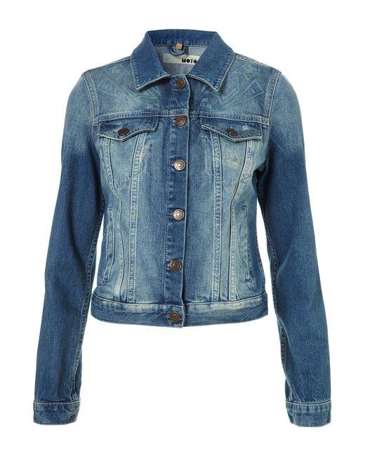 TOPSHOP   Blue Badged Jersey Blazer   Lyst