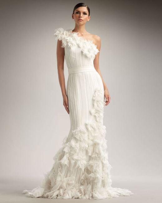 Tadashi Shoji | White One-Shoulder Rosette Gown | Lyst